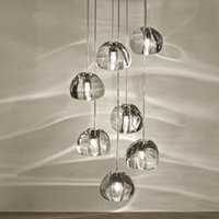 Wholesale Round Glass Lighting Pendants - Modern clear gold crystal glass sphere ball chandelier mizu 3 5 7 15 26 head pendant lamp geiling lamp round stainless steel base