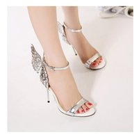 Wholesale Transparent Fish - Ladies sandals Summer fashion Transparent Butterfly wings sandals Crystal Stiletto heels fish mouth Sexy woman super high heels sandals
