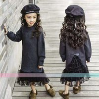 Wholesale Childrens Dress Sweaters - Fashion Winter sweater Girls Dresses lace Trumpet   Mermaid Childrens Princess Dresses Kids long dresses Girls boutique clothing A1356