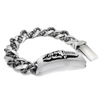 Wholesale Silver Sword Ring - Athens Flowers Bracelet For Men Stainless Steel Bracelets & Bangles High Quality Jewelry Raised Sword Infinity Bracelets fashion