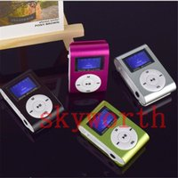 Wholesale MINI Clip MP3 Player with Inch LCD Screen Music player Support Micro SD Card TF Slot Earphone USB Cable Gift box