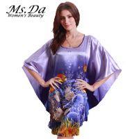Wholesale Wholesale Plus Pajamas - Wholesale-Women Silk Nightgown Vintage Pattern Print Pajamas 2016 Summer Style Brand New Robes Kigurumi Plus Size Suit:L~3XXXL,4XL,5XL,6XL