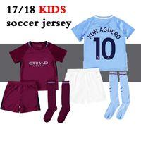 Wholesale Kids Walkers - 17 18 kids Man City home soccer Jersey Kits KUN AGUERO STERLING Walker DE BRUYNE GUNDOGAN G.JESUS away Sane Bernardo child Football Shirts