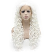 26inch Extra Long Curly White Heat Resistant Fiber Lace Front Синтетический парик