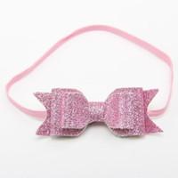 Wholesale Pink Hair Photos - sequins headbands for girls ,baby bow headband,princess girls birthday hair wrap,new posh baby newborn photo prop