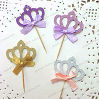 Wholesale cupcake toppers girl resale online - Cupcake Topper Princess Crown Design Glitter Cup Cake Topper Decoration for Wedding Party Girl Birthday Party