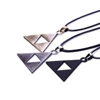 Wholesale triangle necklace pendant men - 3 colors ZELDA Legend Of Zelda necklace princess bronze black Triforce Zelda Triangle denpants fashion jewelry for men women 161182