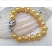 Wholesale Huge Golden South Sea Pearls - HUGE 11-12MM GENUINE SOUTH SEA GOLDEN PEARL BRACELET 7.5-8 INCH