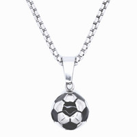 Punk Retro Jewelry 100% Collier en acier inoxydable Pendentif en football Foyer Black Enolel Rolo Chain 20