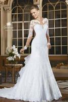 Wholesale Long Slim Lace Wedding Dresses - Vestido De Noiva Long Sleeve 2018 Mermaid Sheer Neck wedding Dress trumpet Sweep Train Vintage Bridal Gowns Slim