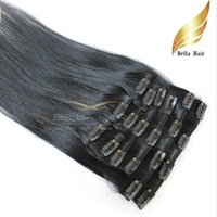 Wholesale Black Discount Human Hair - Discount Fashionable Human Hair Extensions Natural Eurasian Clip in on Hair Extensions #1 Color Straight 20inch 100g set Bellahair