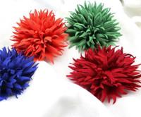 Wholesale Hair Spikes Clips - 40 pcs fabric flower shiny petals spike handmade hair flowers no clips 3.5
