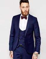 Wholesale Men S Pink Dress Tie - Wholesale-Fashion Style One Button Blue Groom Tuxedos Groomsmen Mens Wedding Suits Formal Dress (Jacket+Pants+Vest+Tie) NO:119