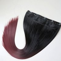 Wholesale Two Ponytails Straight Hair - Clip in Ponytail synthetic Straight hair 120g 22inch ombre 1B&burgundy two colors hair extensions hot sale