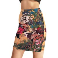 Wholesale Chinese Painting Sexy Women - NEW Arrival 0020 Sexy Girl Women Summer Vintage Chinese painting Cock 3D Prints Skater Miniskirt Evening Sexy Mini Tight Wifey Skirt
