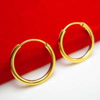 anel de ouro 999 venda por atacado-Por um longo tempo não se desvanece brincos de ouro pequenos brincos de ouro Ear Ring feminino 999 homens de ouro Ear Ring Gift Set
