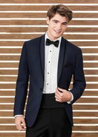 Clássico Dark Navy Tuxedos Slim Fit Casal de casamento para homens One Button Groom Wear Two Pieces Cheap Custom Made Suit (Jacket + Pants + Bow Tie)