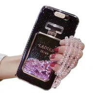 característica del iphone de apple al por mayor-Más caliente Liquid Glitter Quicksand Bling 3D de botellas de perfume con función Flash On Ring para iPhone 6S / 6S Plus 7/7 Plus US1
