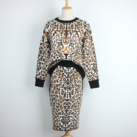Wholesale Sexy Tiger - Free Shipping Sexy Leopard Tiger Print Long Sleeves Women's Sweatshirts And Short Skirts High End 2 Pieces Sets Women DH068
