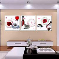 arte de la pared lienzo vino panel al por mayor-Decoración de la pared Unframed 3 Pieces picture picture Impresiones en lienzo rose Copa de vino Café flor de montaña pastizales árbol molino de viento huella