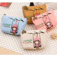 Al por mayor-Cute Canvas Coin Bag Lovely Girls The Swing Holder Purse Pequeño Zipper Wallet Card Purse Zip Key Case Money Clip