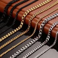 cadena de enlace ancho al por mayor-Nuevo collar de cadena para hombre Collar largo de 24/30 pulgadas Collar redondo de 3/5/7 mm para hombre Collares de cadena de eslabones de acero de titanio Hombres