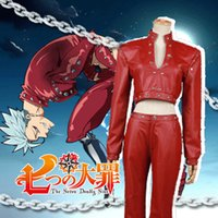 Wholesale Halloween Costumes Leather Suit - Wholesale-The Seven Deadly Sins Ban cos Leather suit Cosplay Costume Halloween costume for adult