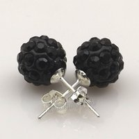 Wholesale Disco Ball Tone - Cool 10mm Black Disco Balls Rhinestone Shamballa Earring Studs Silver Tone Ear Nail 20 Pairs Wholesale Free Shipping
