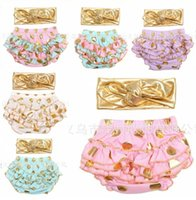 Wholesale Spot Tutu - Baby girls gold polka dot shorts pants baby gold spotted bloomers bronzing diaper covers + bow headbands set childrens ruffled tutu shorts