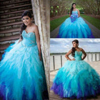 Wholesale ombre beaded prom dresses - Blue Sweetheart Rainbow Colored Quinceanera Dresses 2016 Crystal Beading Tulle Ruffle Skirt Ombre Sweet 15 Ball Gown Puffy Long Prom Gowns
