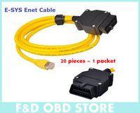 obd ücretsiz gönderim toptan satış-(20 PARÇA) B-M-W ENET için 2016 Yeni varış (Ethernet OBD) Arabirim Kablosu E-SYS ICOM Kodlama F-Serisi DHL ücretsiz kargo