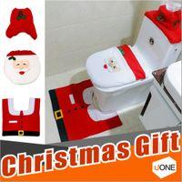 noel weihnachtsverzierung großhandel-Happy Santa Toilettensitzabdeckung Teppich Tank Tissue Box Abdeckung Weihnachtsgeschenk Ornamente enfeites de Natal Papai Noel für Badezimmer Weihnachtsdekoration