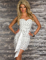 Wholesale Exotic White Club Dresses - White,Black,Red Sexy Strapless Mini Dress Exotic Sequins and Lace Design Elegant Vestidos for Women Sexy Slim Fashion Party Dress W3206