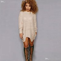 Wholesale Dress Rips - Wholesale-American Style Pull Femme 2016 Long Sleeve Casual Sweater Dress Irregular Knitted Sweater Women Pullovers Dresses Ripped Sweater