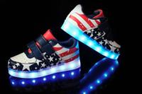 ingrosso bandiera usb-2016 nuovi bambini ricarica USB LED luce scarpe per bambini discoteca scarpe da ballo ragazzi e ragazze sneaker moda bandiera nazionale scarpe casual s