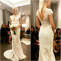 Wholesale Short Wedding Reception Dress - 2017 Deep Plunge Wedding Dresses Lace Cap Sleeves Sexy V-neck Bridal Gowns Mermaid Garden Reception Dress For Brides Robe De Mariee Courte