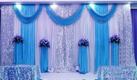 Wholesale Deep Purple Wedding Decorations - 3*6m (10ft*20ft) Wedding Curtain Backdrops with Sequins Swag High Quality Ice Silk Material Wedding Party Stage Decoration valance