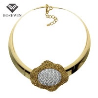 Wholesale Jewelry Flower Bib - Punk Flower Chokers Necklace Women Fashion Rhinestone Inlay Torques Bib Collar Big Statement Necklaces Maxi Jewelry CE4018