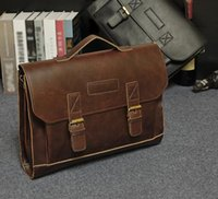 Wholesale Men Flip Phone - The original design of the explosion bag retro flip man crazy horse business bag hand classic man portable briefcase factory outlet