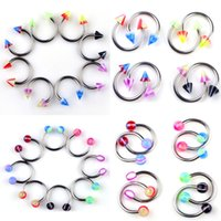 Wholesale Horseshoe Ring Stainless Steel - Stainless Steel Horseshoe Bar Rings Lip Nose Ear Eyebrow Piercing Grillz Dental Grills 19G Body Jewelry 100Pieces