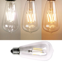 New Vintage Retro E27 2W / 4W / 6W / 8W parafuso LED Filament Light Lamp Bulb ST64 Edison Chip Globe Lamp