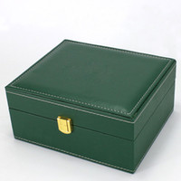 Wholesale Wholesale Wooden Watch Boxes - Factory Supplier Watchs Wooden Boxes Gift Box Brand green Wooden Watchs Box Men's Watches box Green leather Watchs Boxes Free shipping
