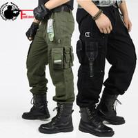 ingrosso pantaloni di stile per gli uomini-Pantaloni cargo da uomo Pantaloni da combattimento militare Swat Pantaloni tattici Ginocchiere militari Maschili Camouflage da esterno Army Style Camo Pantaloni da lavoro