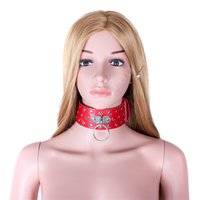 Wholesale Women S Sex Products - S&M BDSM Toys PU Leather Rivet Neck Collar Sex Slave Role Play Necklace For Women Restraint Bondage Ring Fetish Sex Products