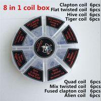8 in 1 Demon Killer Coils Prebuilt Clapton Box Kit Quad Tiger Hive Alien Fused Clapton Mix Twisted Heating Wires Nichrome Resistance Wire