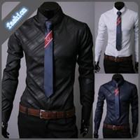 Wholesale Shirt Korea Import - Wholesale-3 Colors Men's business suits striped twill fabric boutique South Korea imported men's long-sleeved shirt size XXXL
