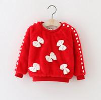 yay ceketi sonbahar toptan satış-Yeni Sonbahar Kış kızın Ceket Faux Kürk Kız Giysileri Moda Yay Çocuk Kıyafetler Kız Ceketler çocuk Giyim Bebek Kız Giyim Üst