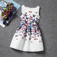 Wholesale Butterfly Nylon White - Fashion summer 2016 Korean children's clothing for girls butterfly sleeveless dress temperament princess dress children