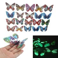 Wholesale Stickers For Wedding - 20pcs pack 8cm Artificial Butterfly Luminous Fridge Magnet for Home Christmas Wedding Decoration