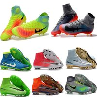 Wholesale Crampons Shoe Spikes - High quality soccer boots acc man superflys boy football shoes high top soccer boots ag crampons de foot hautes chevilles mens soccer cleats